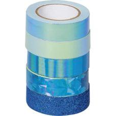 Ruban adhésif déco Mix bleu 5pc