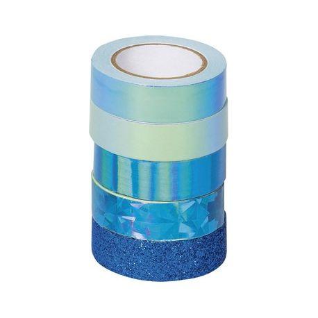 Ruban adh.déco Mix bleu 5pces