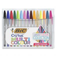 BiC Stylo bille, Cristal Multicolors, pointe de 1,6 mm, corps transparent, 15 couleurs d'encre assorties