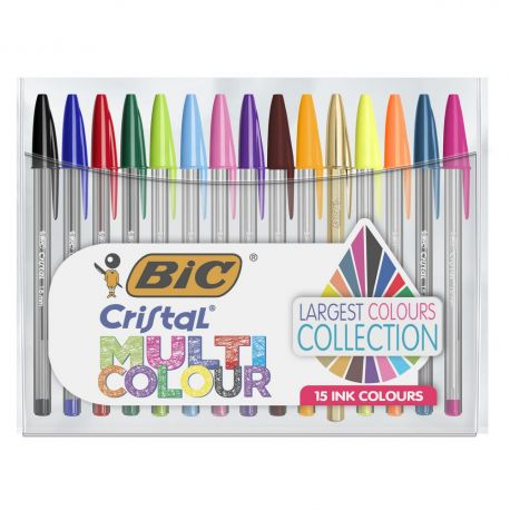 BiC Stylo bille, Cristal Multicolors, pointe de 1,6 mm, corps transparent, 15 couleurs d'encre assorties
