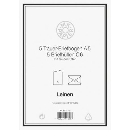 Carte deuil A5 MK+enveloppe 5pc