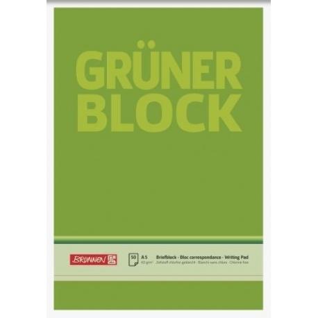 Bloc corresp A5 60g Grüner uni 50f