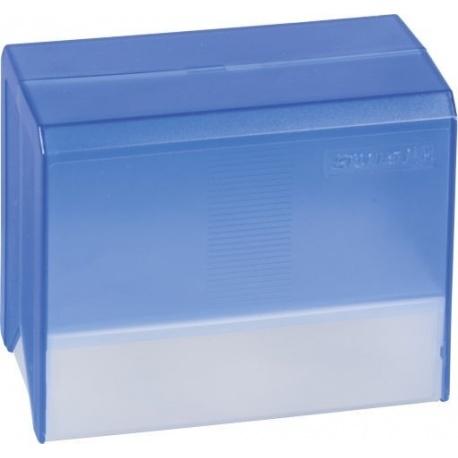 Boîte à fiches A6 vide transp bleue