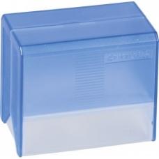 Boîte à fiches A7 vide transp bleue