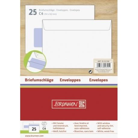 Enveloppe C6 fenêtre auto-adh.25pc