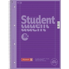Cahier spiralé A4 violet, travers