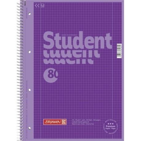 Cahier spiralé A4 violet, 5x5