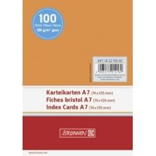 Fiches bristol A7 unies orange100pc