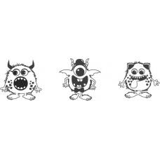 Set de tampons Monstre 3pc ble/noi
