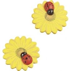 Déco Fleur jaune avec coccinelle