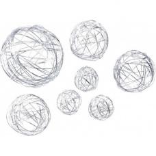 Mél. Boule fil de fer 3/5/8cm arg 1